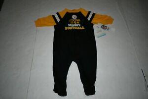 Infant/Baby Pittsburgh Steelers 3/6 Months NWT Footies Pajamas (Black) NFL Team