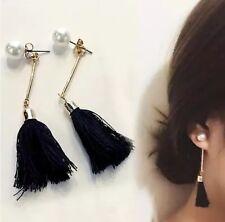 Gold Pearl Drop Tassel Tassle Earrings White Black UK