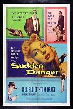 SUDDEN DANGER * CineMasterpieces ORIGINAL MOVIE POSTER 1956 BEVERLY GARLAND