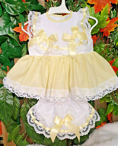 DREAM  0-5 YEARS BABY GIRLS  LEMON WHITE SPOT TOP AND FRILLY BUM PANTS