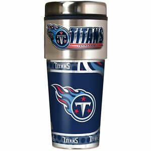 TENNESSEE TITANS 16 OZ STAINLESS STEEL COFFEE TRAVEL MUG WITH METAL EMBLEM