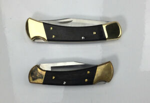 Buck Knife Lot of 2, Folding Knives 110+ and 112+, Brown and Brass Handle (READ)