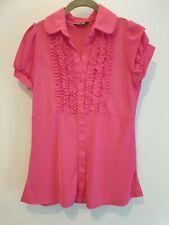 Ladies K&D Ruffle Blouse Top ~ Fuchsia Pink ~ Stunning design ~ Size 14