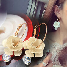 Fashion Womens Crystal Rhinestone Flower Hoop Big Circle Earrings Bridal jewelry