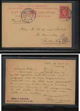 Orange  River  Colony  postal card 1 cent  1911 to Holland               KL0616