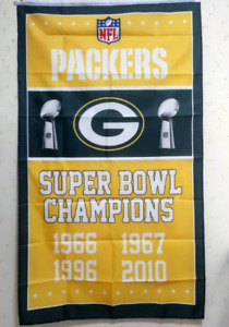 Green Bay Packers Super Bowl Champions Flag 3X5 FT NFL Banner Polyester