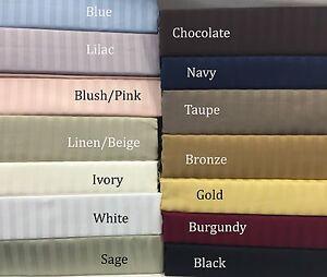 Luxury Soft 100%Egyptian Cotton 300 Thread Count Sateen Stripe Damask Sheet Set