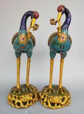 Chinese pure brass cloisonne red-crowned crane incense burner A pair
