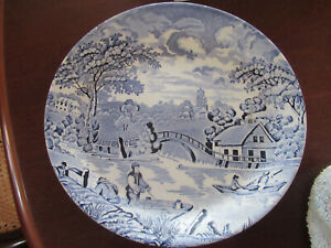 A VINTAGE SHANTUNG  AUST . DINNER PLATE BLUE AND WHITE SCENERY