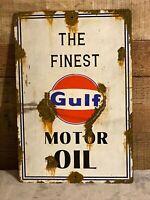 VINTAGE OLD LARGE GOOD GULF MOTOR OIL METAL ADVERTISING SIGN