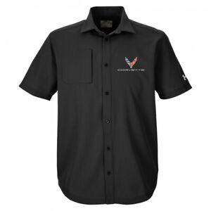2020 Corvette C8 Button Down Dress Shirt/Polo Black Under Armour Buds Chevrolet