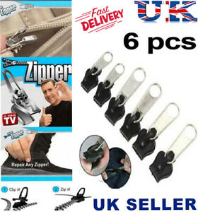 6 Pcs Set Zipper Repair Kit Zip Sliders Spirals Instant Fix Your Own Sewing DIY