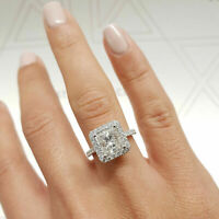 14K White Gold Over 1.75TCW Princess Cut Halo Diamond Engagement Wedding Ring