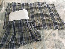 Blue & Green Plaid Full Bedskirt Dust Ruffle w 2 Bonus Standard Shams