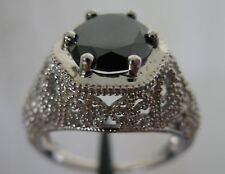2.25ct GENUINE NATURAL BLACK DIAMOND RING w/ APPRAISAL by GIA GRADUATE, ART DECO