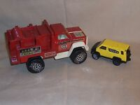 Vintage metal plastic yellow TONKA VAN and a red Fire Rescue Tonka Truck USA