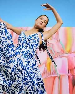 NWT Alexis For Target Botanical Tie Strap Blue White Asymmetrical Hem Dress 4X