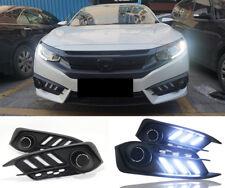 LED Car Front Daytime Running Fog Light DRL Turn Lamp Set For Honda Civic 16-18