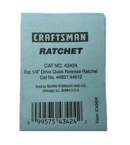 """NEW Craftsman 1/4"""" Quick Release Ratchet Repair Kit 43424 for 44807, 44812"""