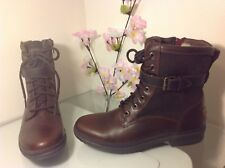 Sz 8 Women's Shoes UGG Kesey WP Two Tone Lace Up Combat Boots 1005264 Chestnut