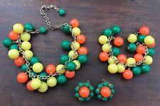 Vintage Parure Charm Necklace Cha Cha Bracelet & Clip Earrings Colorful Beads