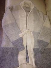 Vintage Hilda Ltd women M Ivory, Grays Icelandic Wool sweater coat Belted Nordic