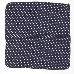 "VTG Homemade Mens Silk Pocket Square 11.5"" Navy Blue White Polka Dot Print Sewn"