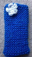 Hand knitted Mobile phone sock/cover/case Blue With Grey flower detail