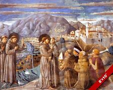 ST FRANCIS OF ASSISI PREACHING TO PEOPLE & ANIMALS PAINTING ART CANVAS PRINT