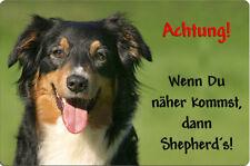Australian SHEPHERD - A4 Alu Warnschild Hundeschild SCHILD Türschild ASD 16 T38