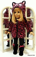 """4pc BLACK & HOT PINK DOLL """"Cat"""" SET fit 18"""" AMERICAN GIRL Jacket Pants Boots Hat"""