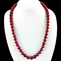 GENUINE 406.50 CTS EARTH MINED RED RUBY ROUND SHAPED BEADS NECKLACE STRAND (RS)