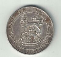 GREAT BRITAIN 1902 ONE SHILLING KING EDWARD VII STERLING SILVER COIN .1682oz