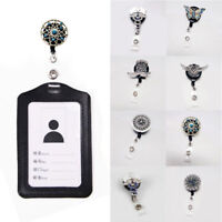 Metal Crystal Recoil ID Badge Reel Lanyard Name Tag Key Card Holder Belt Clips