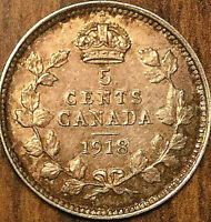 1918 CANADA SILVER 5 CENTS COIN - Excellent example!