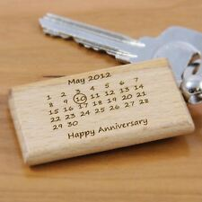 Personalised Wooden Keyring Engraved Anniversary Key Ring - Calender Keyrings