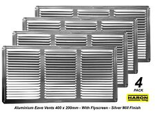 4 x Aluminium Air Vents 400 x 200mm Silver with Flyscreen Eave Ventilation