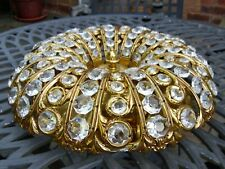 Vintage Small Gold Plated Brass Flush Ceiling Light Chandelier/Crystal Beads #1