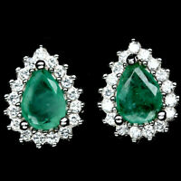 NATURAL GREEN EMERALD RED RUBY & WHITE CZ EARRINGS STUD 925 STERLING SILVER