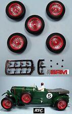 "BRM 23"" 4x Red Wire Wheels 25 5 X 7mm - Scalextric Bentley ALFA ROMEO"