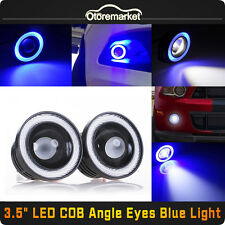 "3.5"" Inch COB LED Fog Light Projector Car Blue Angel Eyes Halo Ring DRL Lamp USA"