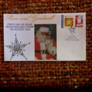 2003 PEACE 7 GOODWILL 1ST DAY OF PERSONALISATION DOG AND SANTA 50C STAMP COVER
