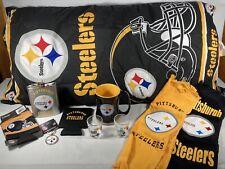 Pittsburgh Steelers Fan Lot Of 10 Pillow, Towels, Flask, Mug, Shot Glass, & More