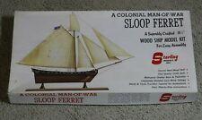 Vintage Sterling Model A Colonial Man Of War Sloop Ferret Wood Ship Model Kit
