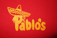 vtg 1970s 80s PABLO'S SWEATER Red V-Neck Mexican Food Restaurant Sombrero LARGE