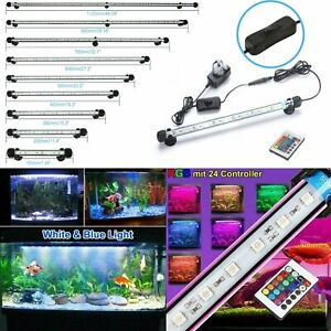 Submersible Aquarium Light LED Fish Tank Strip Lighting RGB Blue White Bar Lamp