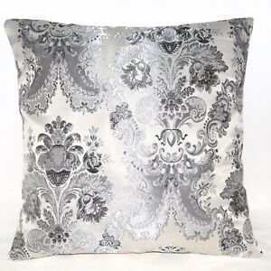 vc06a D.Grey Silver Grey Flower on Beige Silver Thick Cotton Blend Cushion Cover