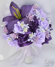 17 Piece Package Wedding Bridal Bouquet Silk Flower Decoration PURPLE LAVENDER
