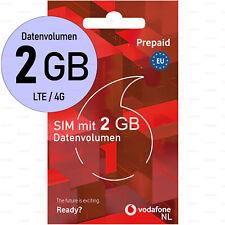 SIM-Karte Anonym 2GB DATEN EU-Roaming Vodafone Niederlande LTE Aktiviert Prepaid