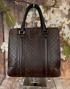 GUCCI Dark Brown Leather Guccissima Tote Large 145842 - Made In Italy